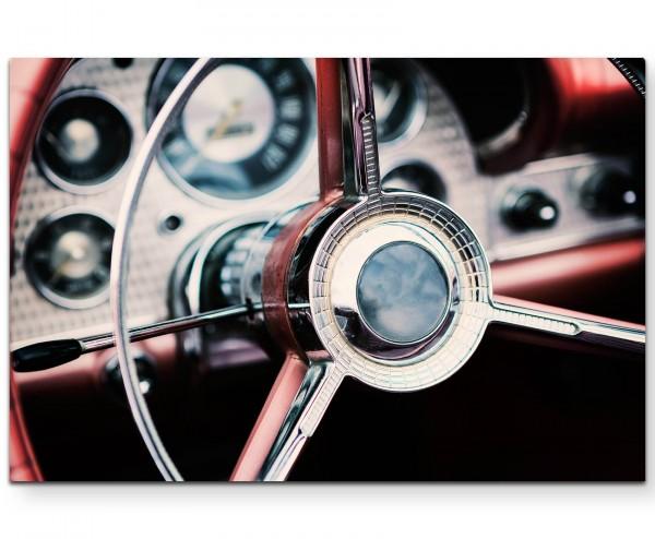 Oldtimer – Lenkrad Rottöne - Leinwandbild