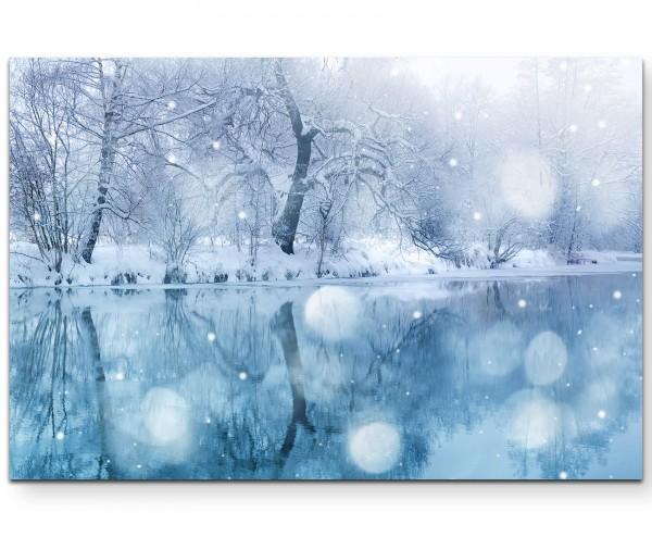 Fotografie – Winterlandschaft mit Fluss und Schneefall - Leinwandbild