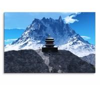 120x80cm Wandbild Tempel Buddhismus Berge Schnee