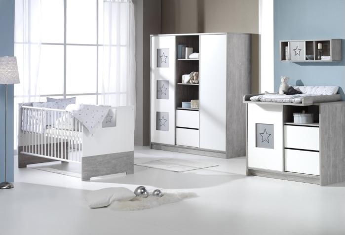 Babyzimmer Eco Star in Driftwood Grau und Weiß 6 teiliges Megaset von SCHARDT