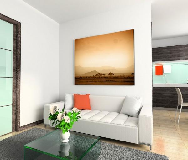 120x80cm Wandbild Afrika Savanne Bäume Berge Sonnenaufgang