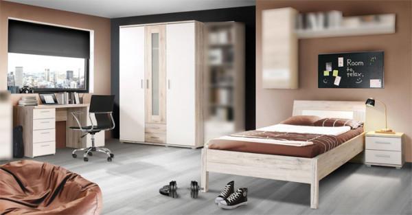 Jugendzimmer Beach in Sandeiche und Weiß 4 teilig mit 90er Bett +++ von möbel-direkt+++ schnell und günstig