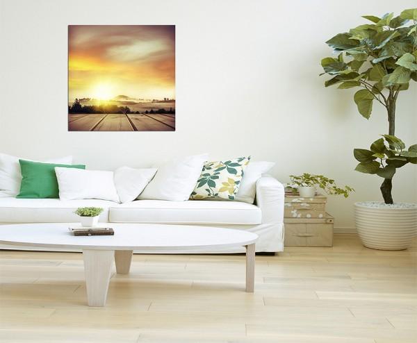 80x80cm Neuseeland Landschaft Holz Himmel warm