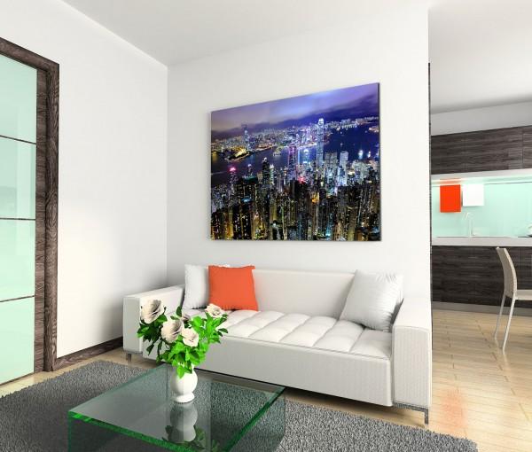 120x80cm Wandbild Hongkong Gebäude Wasser Nacht Lichter