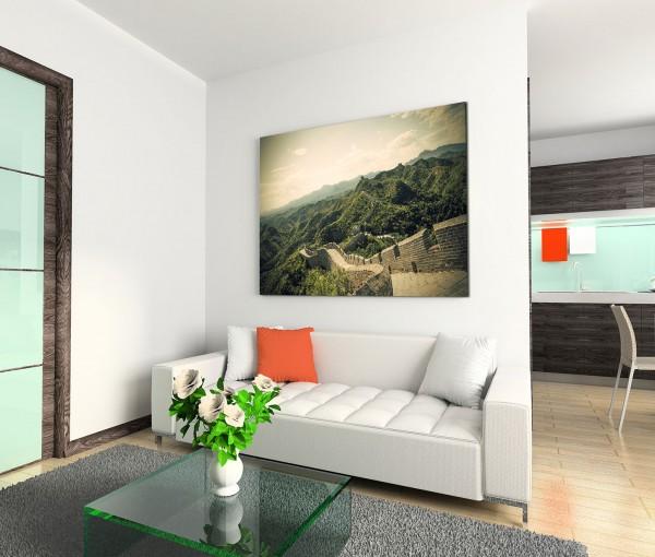 120x80cm Wandbild China Beijing Mauer Berge Landschaft