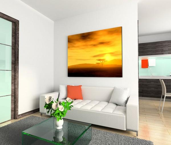 120x80cm Wandbild Sonnenuntergang Afrika Wolken