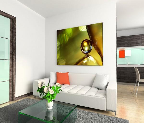 120x80cm Wandbild Glas Marmor Kugel grün