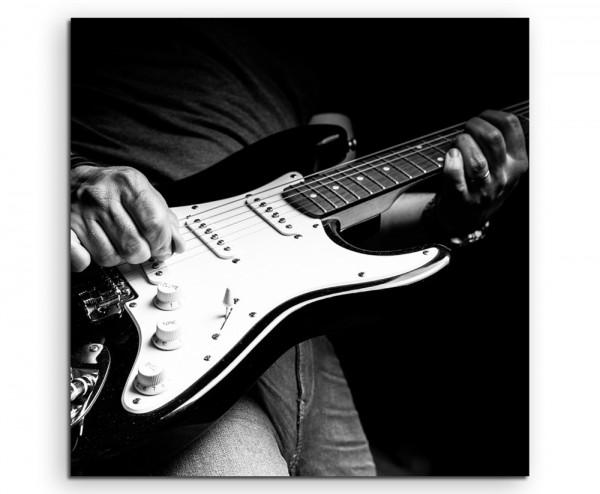 Künstlerische Fotografie – Mann mit E-Gitarre auf Leinwand