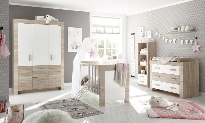 Babyzimmer Emy in Eiche Sägerau und Weiß 6 teiliges Megaset