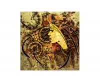 80x80cm Zeichnung Frau Gesicht bunt abstrakt