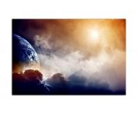 120x80cm Planet Erde Wolken Nebel dunkel