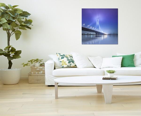 80x80cm Kiew Brücke Wasser Lichter Nacht
