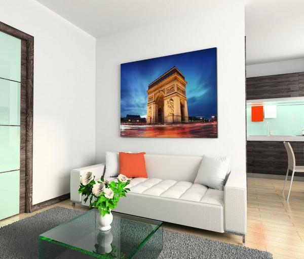 120x80cm Wandbild Paris Arc de Triomphe Triumphbogen Abendlicht