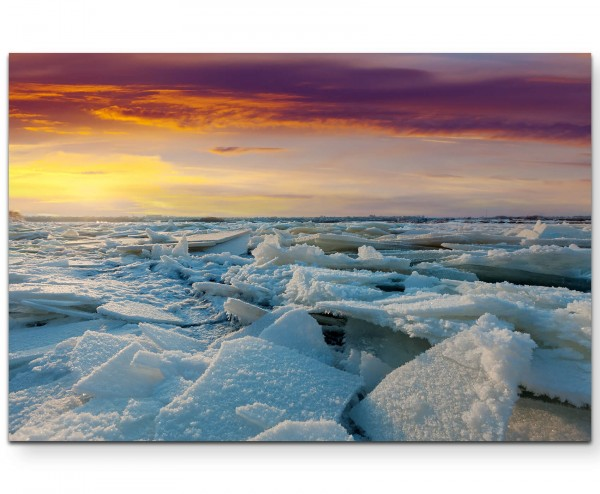 Naturfotografie – Sonnenuntergang Winterlandschaft - Leinwandbild