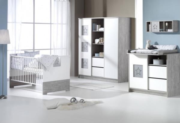Babyzimmer Eco Star in Grau Driftwood und Weiß mit Sternenmotiven von SCHARTD 6 teiliges Komplettset