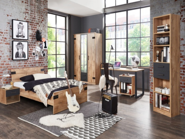 Jugendzimmer Liverpool in Plankeneiche mit Absetzungen in Graphit 6 teilig +++ von möbel-direkt+++ schnell und günstig