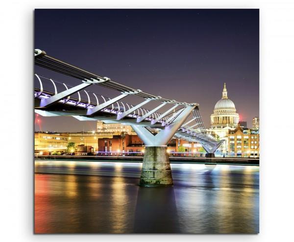 Urbane Fotografie – London bei Nacht auf Leinwand exklusives Wandbild moderne Fotografie für ihre Wa