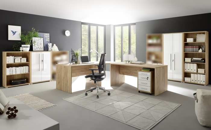 b ro office eiche riviera honig hochglanz wei 6 teilig. Black Bedroom Furniture Sets. Home Design Ideas