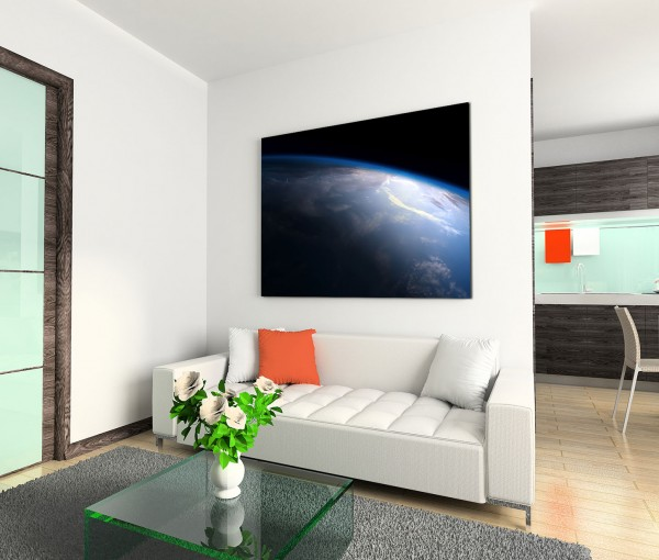 120x80cm Wandbild Planet Erde Weltall Draufsicht