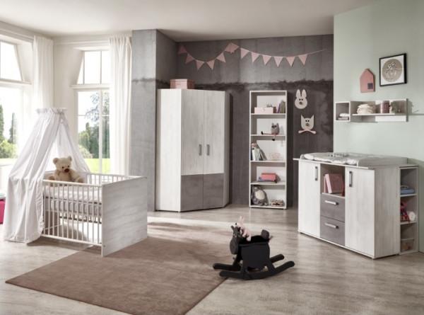 Babyzimmer Insa in White Washed Wood und Stone von Arhtur Berndt 7 teiliges Superset mit Eckschrank,