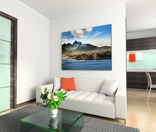 120x80cm Wandbild Sizilien Meer Küste Berge