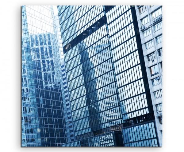 Architekturfotografie – Wolkenkratzer im Detail auf Leinwand