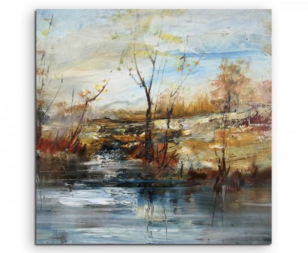 Ölgemälde - Bäume am Wasser auf Leinwand