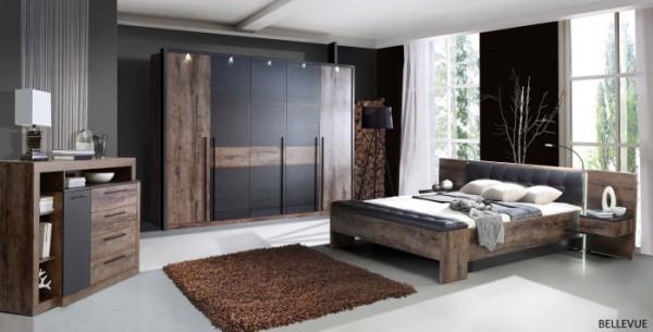 Schlafzimmer Bellevue in Schlammeiche von Forte Megaset mit Drehtürenschrank, Bettanlage, Sitzbank,