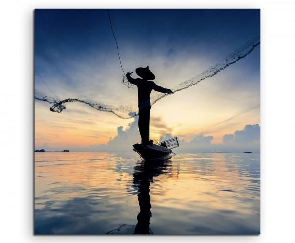 Arbeiterfotografie – Fischer mit fliegen flugzeug technik reisen verreisen reisedem Netz auf Leinwan