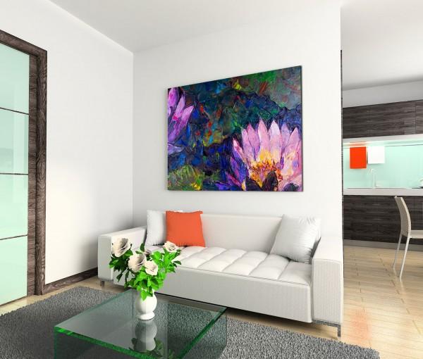 120x80cm Wandbild Ölmalerei Lotusblumen Blüten