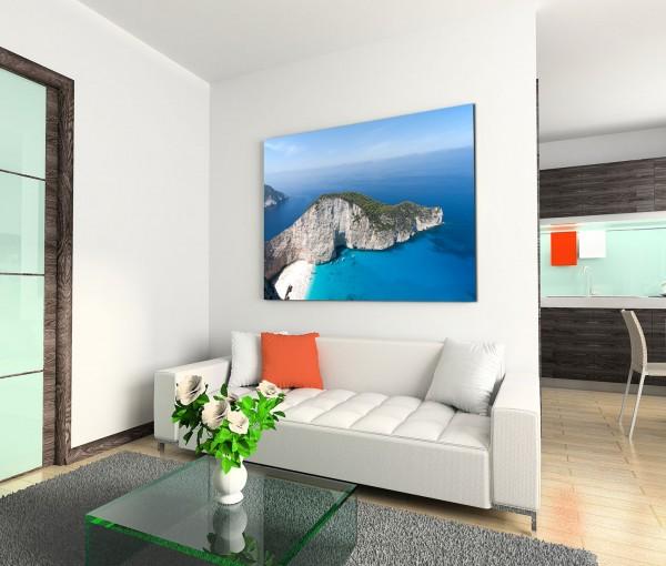 120x80cm Wandbild Griechenland Felsen Meer Strand Boote