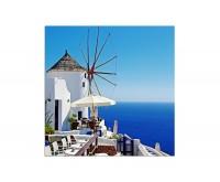 80x80cm Santorini Windmühle Meerblick Restaurant