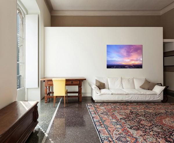 120x80cm Thailand Gebäude Himmel Abendrot