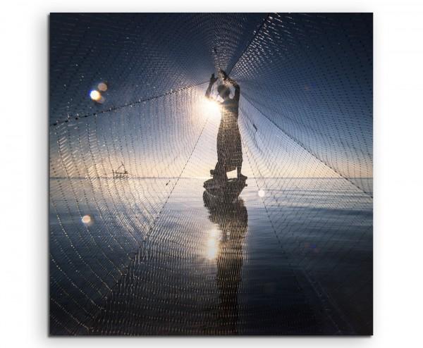 Arbeiterfotografie – Fischer mit Netz auf Leinwand exklusives Wandbild moderne Fotografie für ihre W