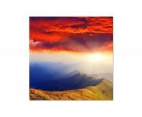 120x80cm Berge Sonnenuntergang Abendrot Wolken
