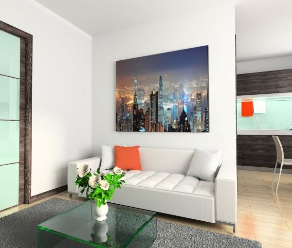 120x80cm Wandbild Hongkong Skyline Wolkenkratzer Nacht