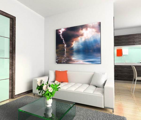 120x80cm Wandbild Meer Regen Blitze Wolken Sonnenlicht