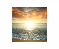 80x80cm Strand Meer Sonnenuntergang Wolken