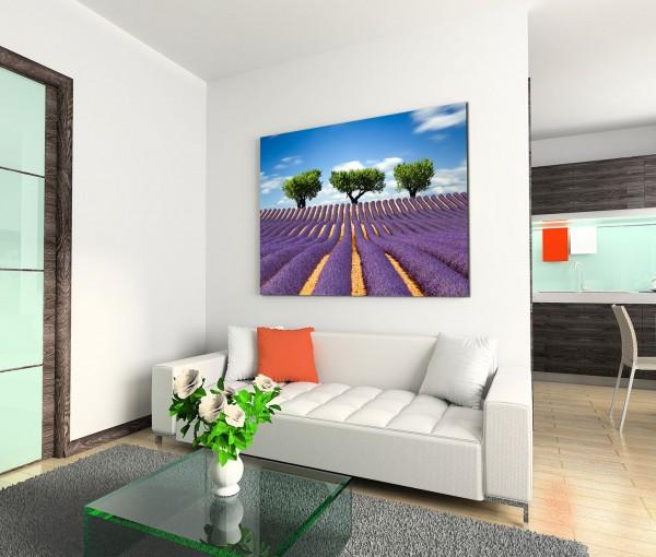 120x80cm Wandbild Frankreich Provence Bäume Himmel Wolken