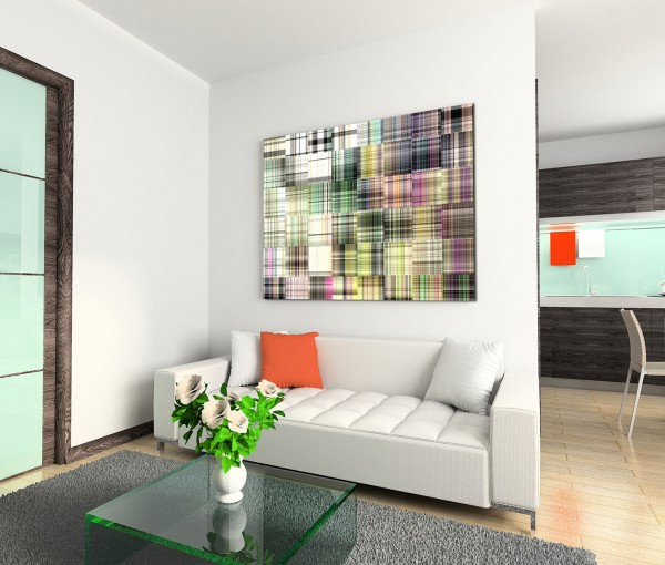 120x80cm Wandbild Kunst Hintergrund Geometrie abstrakt bunt