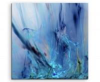 abstrakt modern chic chic dekorativ schön deko schön deko e blaue Farbschlieren auf Leinwand