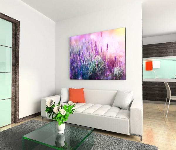 120x80cm Wandbild Lavendelfeld Sonnenlicht Sommer