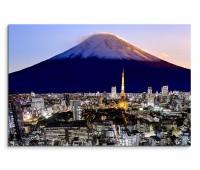 120x80cm Wandbild Fuji Berg Schnee Tokio Stadt modern Abendlicht