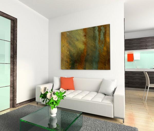 120x80cm Wandbild Hintergrund grunge abstrakt orange gelb grün