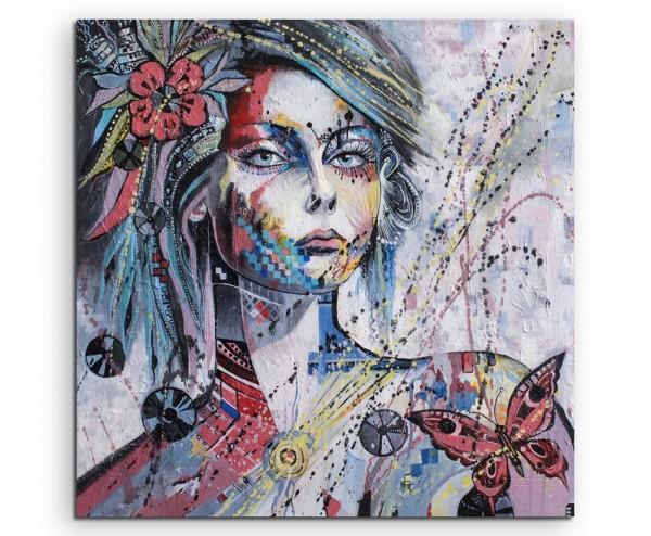Ölgemälde – Farbenfrohes Mädchen mit blumen und Schmetterling auf Leinwand