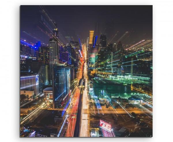 Urbane Fotografie – Bangkok bei Nacht, Thailand auf Leinwand