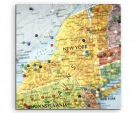 Künstlerische Fotografie – Landkarte von New York, USA auf Leinwand