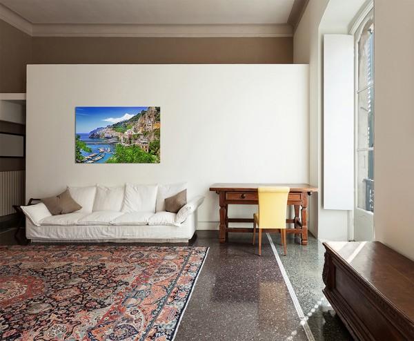 120x80cm Amalfi Italien Meer Küste Dorf Hafen Boote