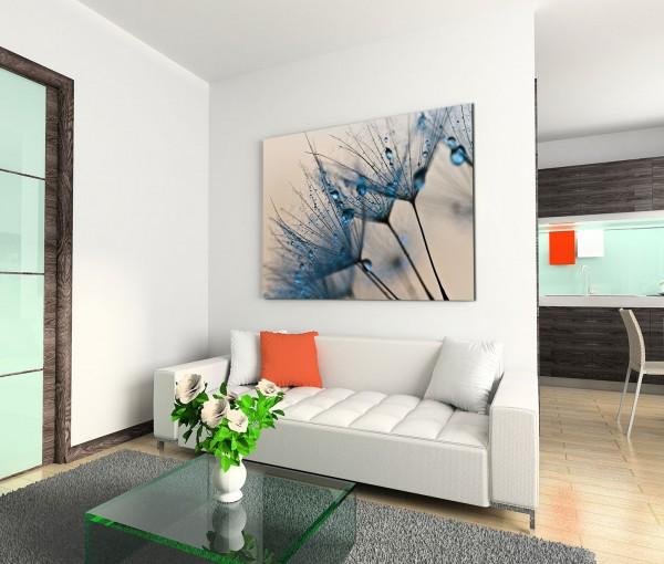 120x80cm Wandbild Pusteblumen Löwenzahn Wassertropfen