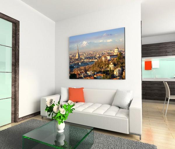 120x80cm Wandbild Italien Turin Stadt Alpen